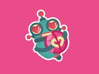 Robot is a fan of dribbles. Sticker design
