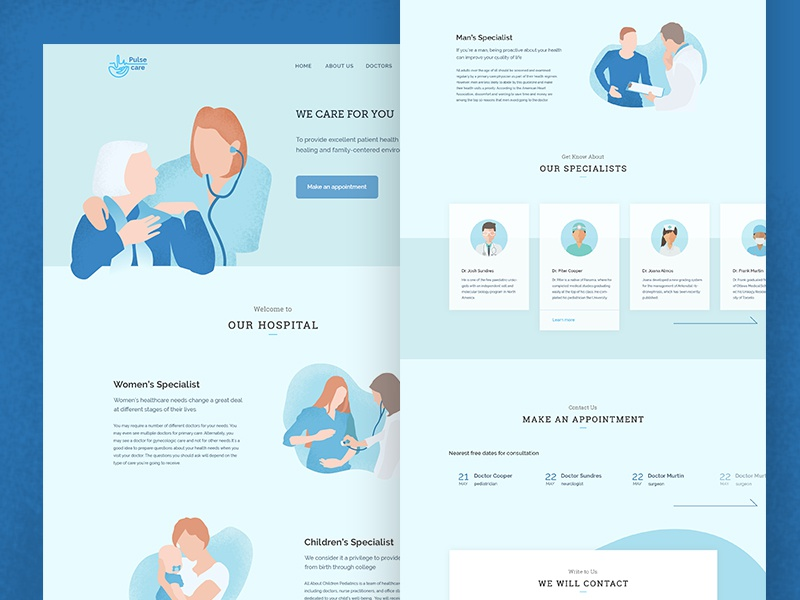 Pulsecare - healthcare landing page simple illustrations site medical care healthcare health landing