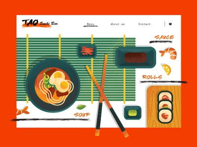 TAO Sushi Bar/ Web Site Design design texture sushi vector illustration site web