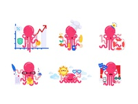 Illustrations of a pink octopus