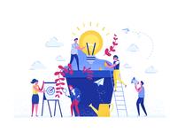 Teamwork flat illustrations team plants light bulb ui 2d vector mobile characters simple illustration