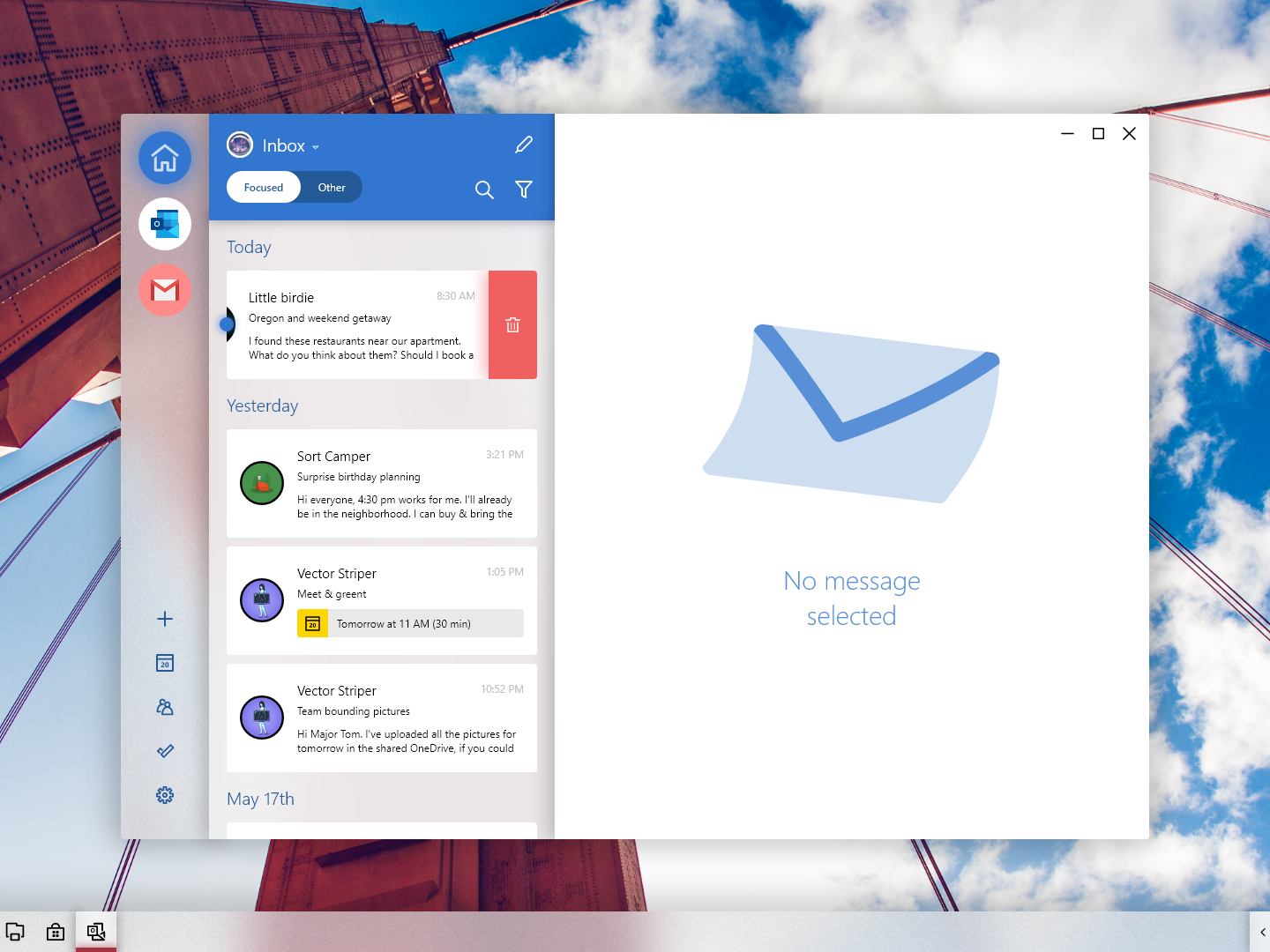 Windows London Mail email yahoo gmail outlook delete swipe inbox mailbox mail app adobexd windows 10 windows ux ui microsoft fluent design fluent