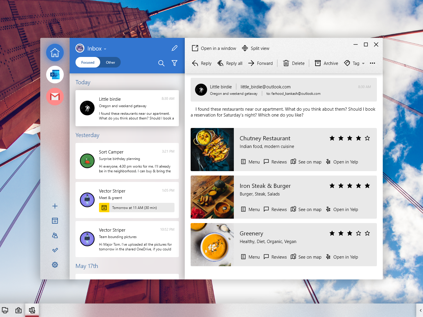Windows London Mail yahoo gmail outlook cards resturant yelp message email inbox mailbox mail app adobexd windows 10 windows ux ui microsoft fluent design fluent