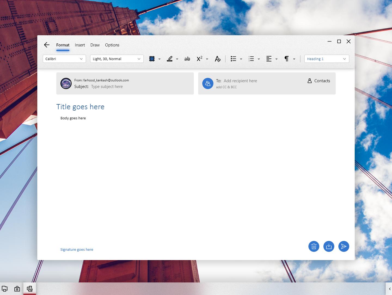 Windows London Mail yahoo gmail outlook type message compose message compose mail compose inbox mailbox mail app adobexd windows 10 windows ux ui microsoft fluent design fluent