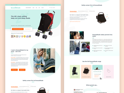 SnoozeShade Website uxdesign ux uiux pastel stroller cute mommy mother baby products baby ecommerce webdesign design web design ui design ui