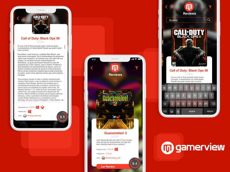Gamerview Reviews App Prototype appdesign app design app review gaming games design ui ui design