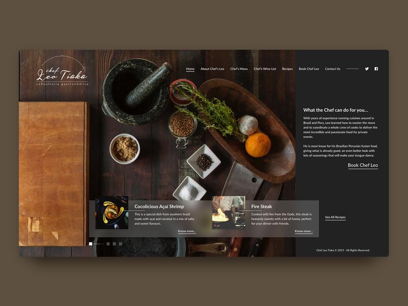 Chef Leo Tiaka's Landing dark ui chef food restaurant web restaurant web design webdesign ux design ux uiux ui ui design