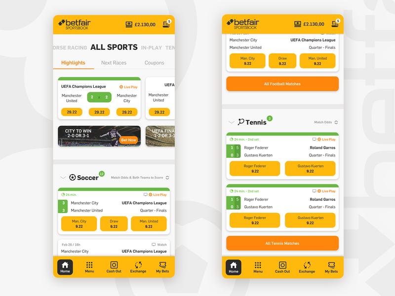 Betfair Mobile Redesign user interface interface design sport app sports betfair bets betting bet mobile app design mobile design mobile uiux design ux uxui uiux design webdesign ui ui design