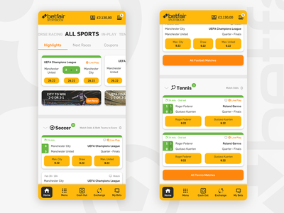 Betfair Mobile Redesign user interface interface design sport app sports betfair bets betting bet mobile app design mobile design mobile uiux design ux uxui uiux design webdesign ui ui design