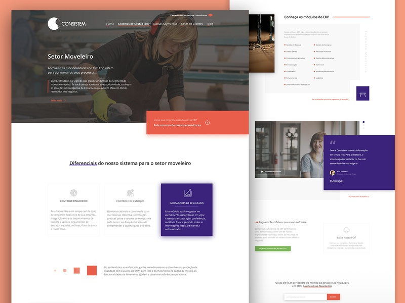 Consistem - Furniture Segment Page erp systems software product page landing page user interface design user interface uidesign ux design uxdesign ux uxui uiux design ui design ui