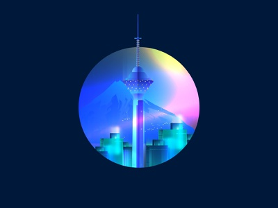 Tehran City website vector web illustration buiding city milad tower tehran iran
