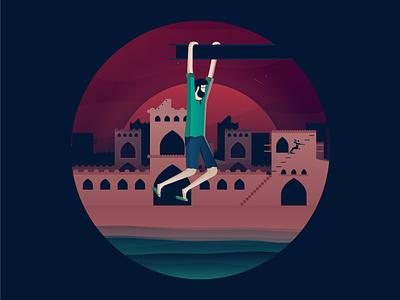 Evening fun tehran vector shiraz isfahan yazd iran design web ux ui animation app website illustration