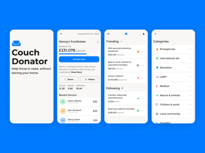 Fundraiser Concept icons product design typography dailyui app design money app design product menu navigation blue fundraising fundraiser ui ux app