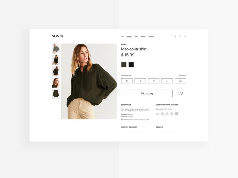 SONNE – Product page design desktop ui web ecommerce design aesthetic minimalist elegant add to cart shirt product page ecommerce