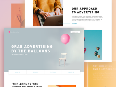 Advertising Agency Concept landing page advertising ui