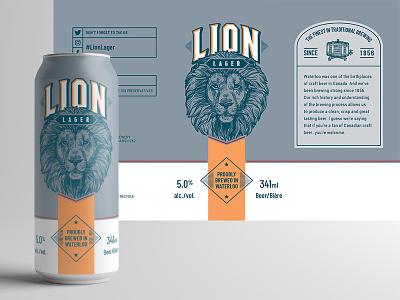 Lion Lager Label Design packaging design craft beer tall boy graphic design beer label packaging illustration