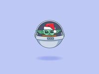 Baby Yoda happy holidays christmas starwars the child mandalorian baby yoda cartoon 20 minute sketch vector illustration