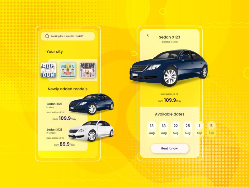 Rent-a-car App Exploration mobile order buy ios exploration renting car