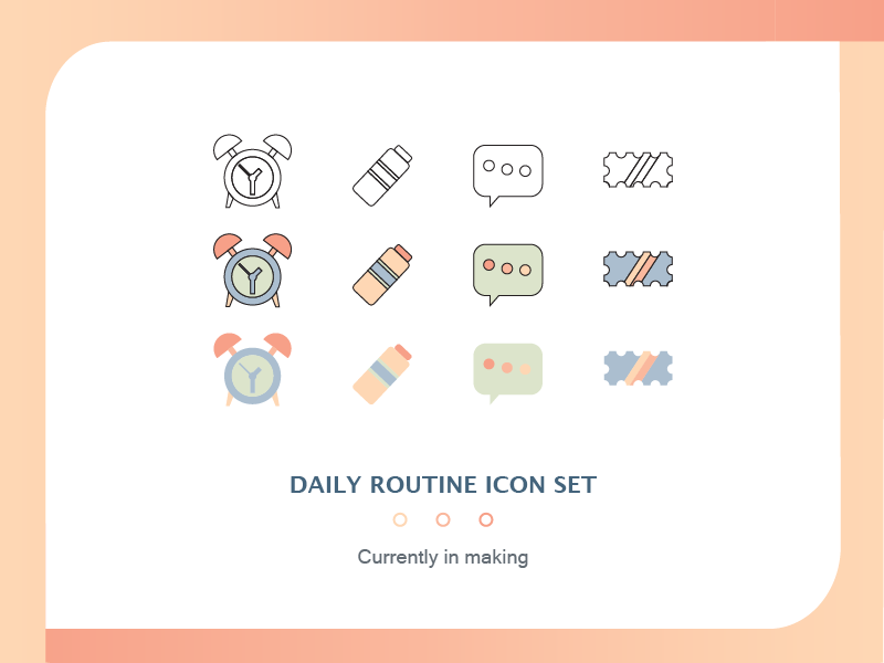 Daily Routine Icon Set fun looking bright colors fun pastel versions icons icon set icon