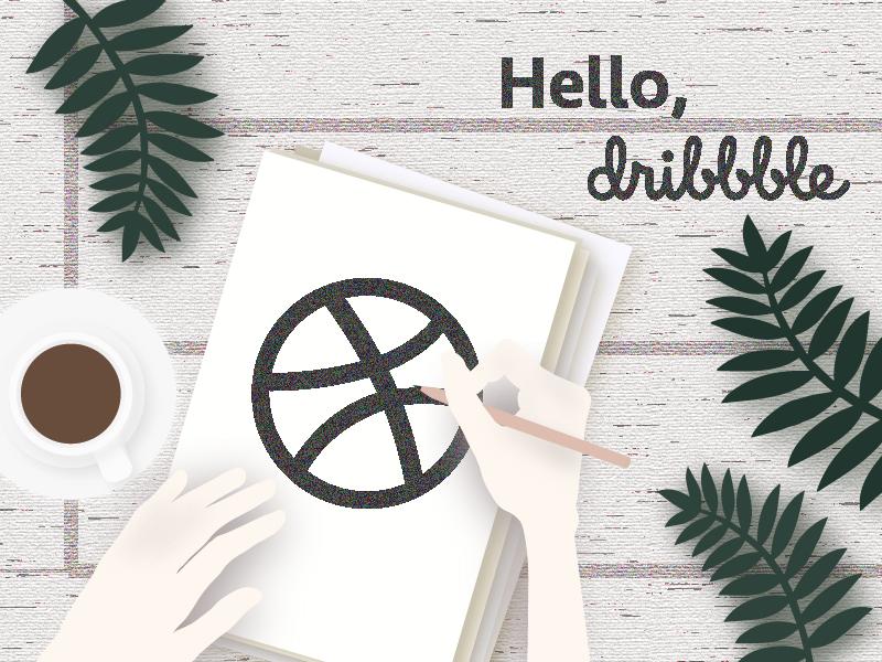 Hello Dribbble Illustration brand identity visual identity branding debut shot hello design dribbble illustration