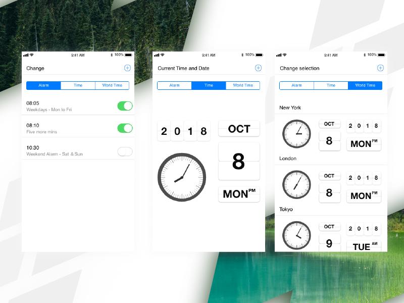 Clock App Screens Redesign xd ai ux clock clock app redesign ui design illustration