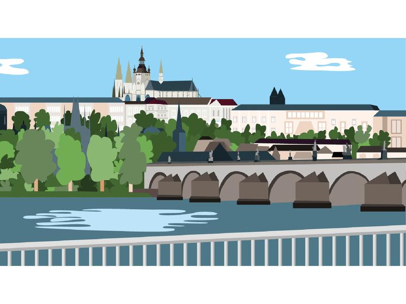Vector Illustration - Prague fun ui ux vector ai design illustration branding