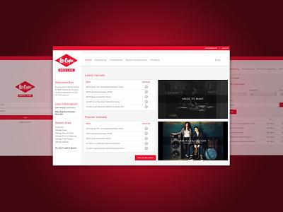 Lee Cooper website clean simple minimal design flat red