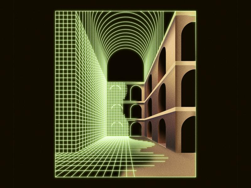 Giorgio in cyberspace editorial art perspective architecture airbrush retro graphic  design design illustration