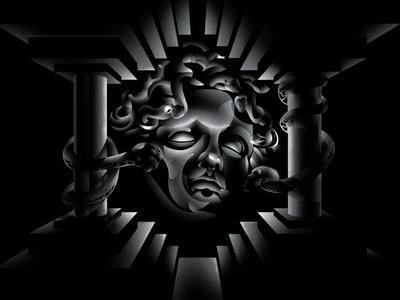 Son of Medusa architecture vector vector art perspective editorial art airbrush retro design graphic  design illustration