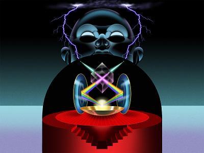 The Alchemy of Light sci-fi architecture editorial art airbrush retro vector art graphic  design design illustration