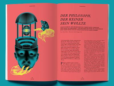 DER PHILOSOPH, DER KEINER SEIN WOLLTE psychology freud issue magazine vector art graphic deisgn editorial art illustration art