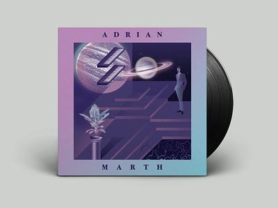 ADRIAN MARTH / MARTHIANS WORLD EP DESIGN retro italo vinyl cover music graphic  design vector art illustration design