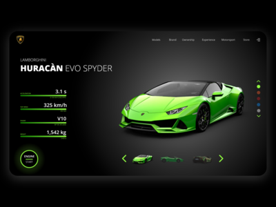 LAMBORGHINI HURACÀN EVO SPYDER - Web design concept