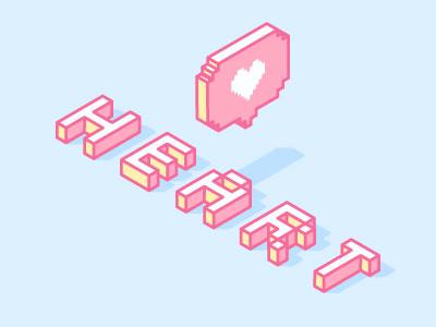 Heart illustration pixel typography type