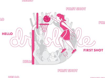 D for Dribbble design illustrator 2d vector dribbble debut firstshot d typography letter illustration