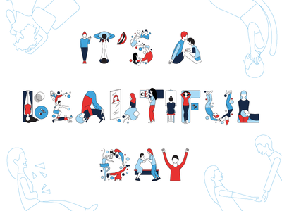 It's a Beautiful Day life people human beauty design illustrator 2d vector typography letter illustration