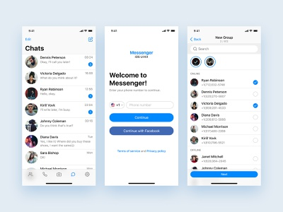 Messenger iOS UI Kit ui kit messenger app messenger design app clean ux ui ios user interface