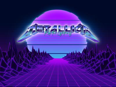 Metallica Synthwave sci-fi retro outrun metal heavymetal metallica logo illustration 80s design retrowave synthwave
