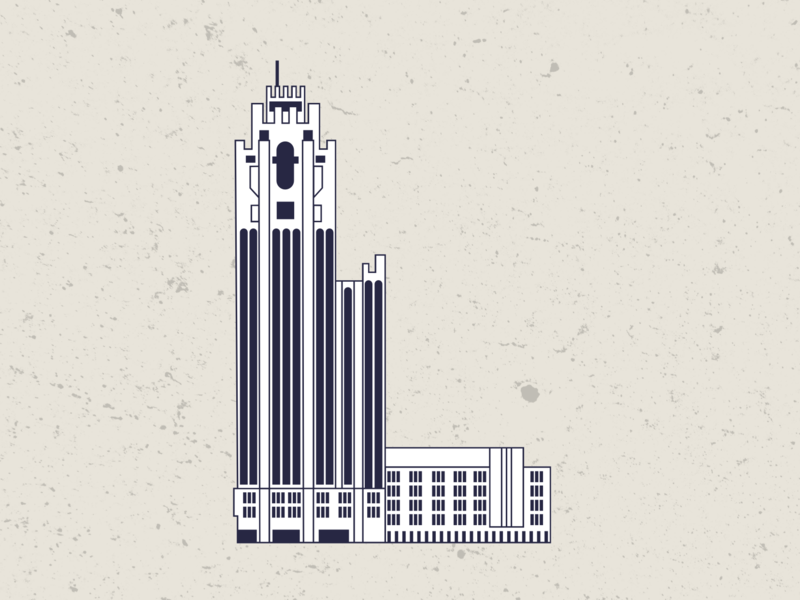 Tribune Tower minimal web vector ui flat illustration design