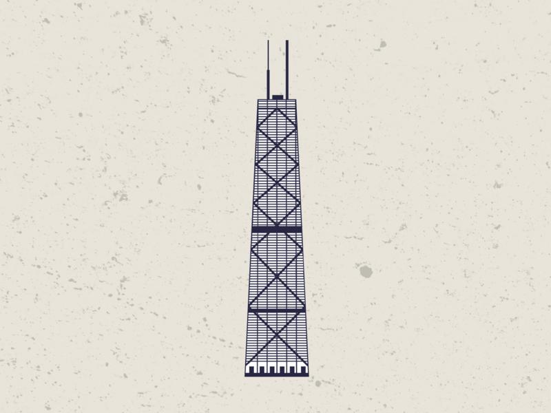 John Hancock Center minimal web vector ui illustration flat design