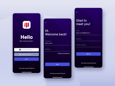 Moodboard - Log In and Sign Up mobile ui mobile creative product page account moodboard colorful signup login clean ui concept uiux product ux app ui design minimal clean