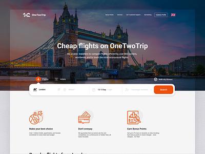 One Two Trip - Redesign Concept ui uiux ux minimal travel trips website design web design flight booking flight search flight trip website design clean