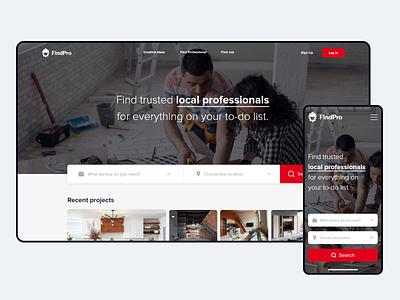 FindPro - Find Professional Responsive Website construction building professional search website design web website clean ui concept uiux ux app graphic branding design ui clean