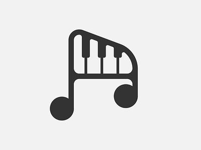 Musical Note and Piano Minimal Logo shape notes minimal clean piano music