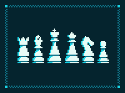 Pixel Chess Pieces frame contrast grid dark pattern pieces simple retro game pixel chess
