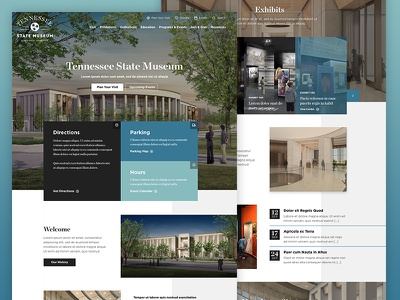 Tennessee State Museum concept clean modern overlap scroll homepage attraction grid history museum