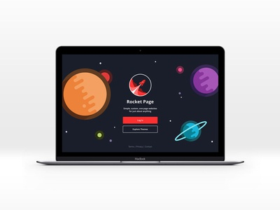 Rocket Page Login Screen buttons vector space illustration branding website