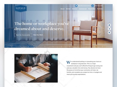 Savage Construction navigation construction banner gradient hero website