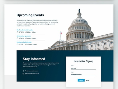 Upcoming Events & Signup gradient modern clean stack overlap form signup newsletter government politics cut-out list event web