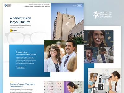 Southern College of Optometry modern clean vision video ui optometry medical homepage web design